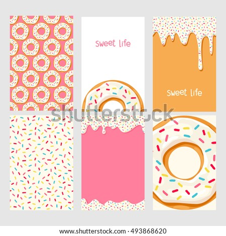 set of bright food cards set