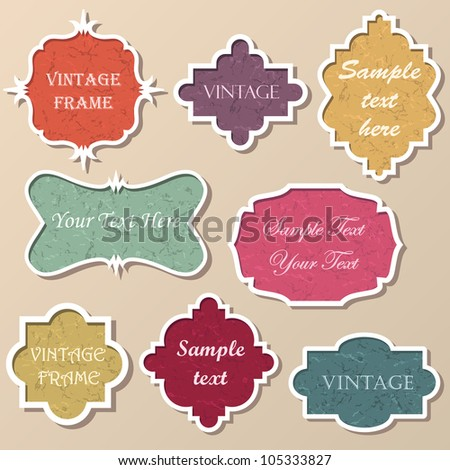 Set of bright frames in retro style