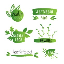 Set of bright green labels with leaves for organic, natural, eco or bio products isolated on transparent background