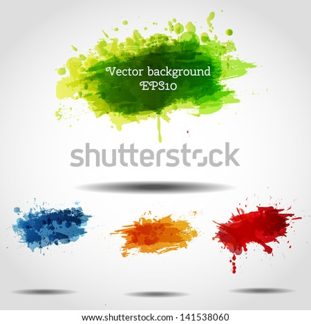 Set of bright grunge backgrounds in autumn colors. Vector illustration