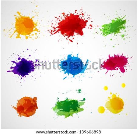 set of bright grunge splashes