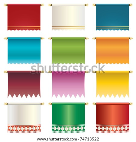 set of bright hanging banners isolated on white