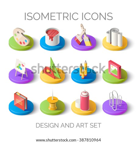 Set of bright isometric icons. 3D pictogram vector. Design and art set. Elements for mobile and web applications. EPS 10