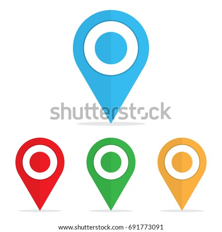 Set of bright map pointers. Pin icon. Vector illustration