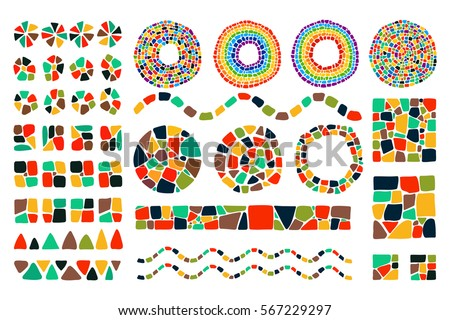 Set of bright Mosaic design elements on white background. Vector isolated circle, square, triangle, border, numbers for decoration. Ceramic tile texture. Easy to recolor.