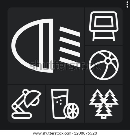 set of 6 bright outline icons