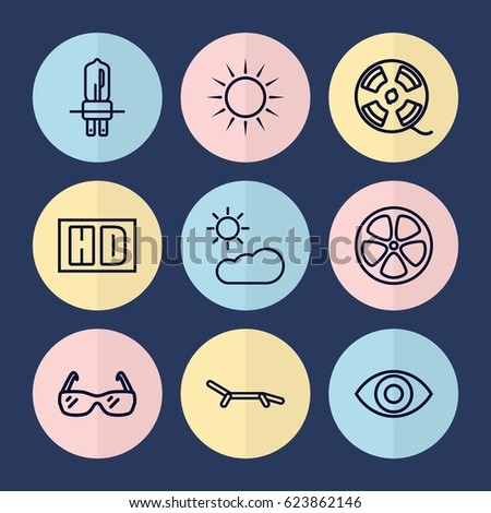 set of 9 bright outline icons