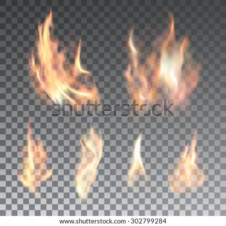 Set of bright realistic fire flames with transparency isolated on checkered vector background. Special light effects collection for design and decoration