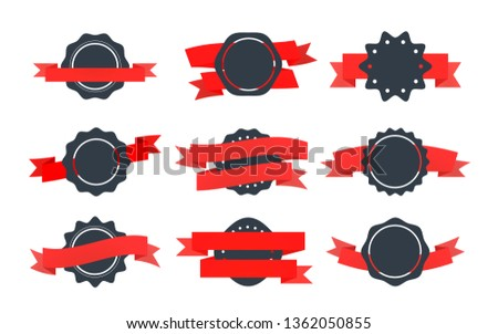 Set of bright retro badges with tapes isolated on white