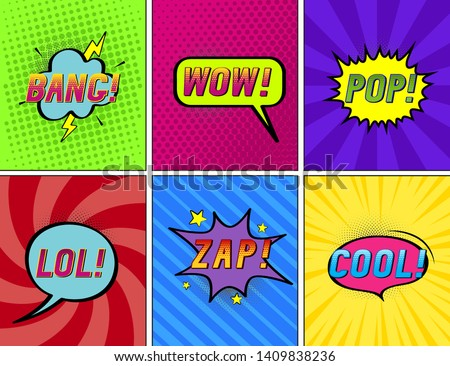 Set of bright speech bubbles on different halftone  backgrounds. Wow! Bang!  Pop! Cool. Lol! Zap!  Vector illustration in pop art style