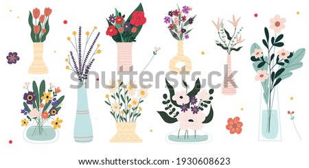 Set of bright spring blooming flowers in vases and bottles isolated on a white background. Cartoon flat vector illustration. Stockfoto ©