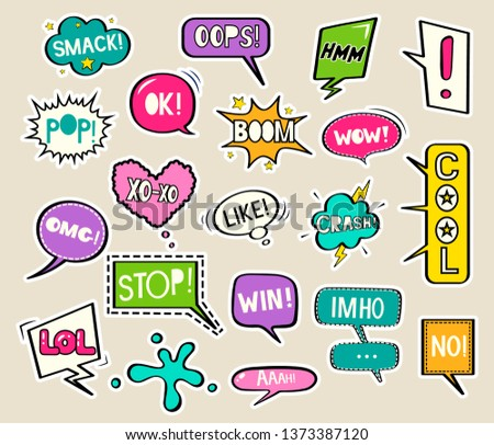 Set of bright stickers in the form of speech bubbles. Vector illustration in comic style #1373387120