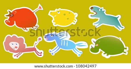 set of bright tags with funny animals