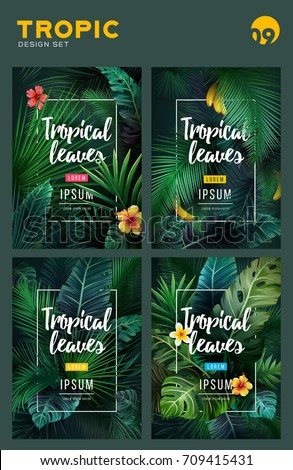 set of bright tropical