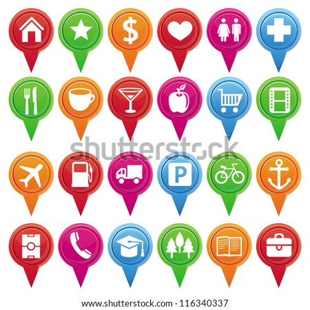 Set of bright vector markers for map and plan with navigational icons