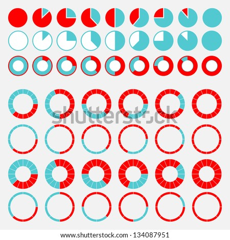 Set of brightly colored pie charts.