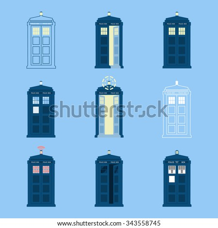 set of british police boxes