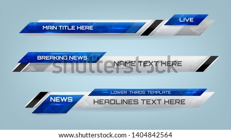 Set of Broadcast News Lower Thirds Banner for Television, Video and Media Channel