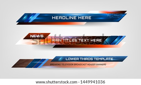 Set of Broadcast News Lower Thirds Template for Television, Video and Media Channel