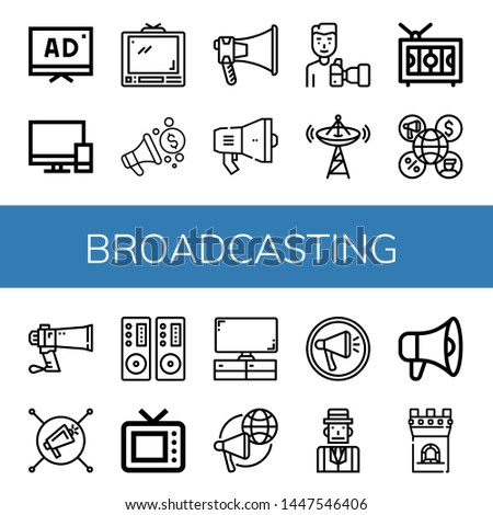 Set of broadcasting icons such as Tv, Televisions, Megaphone, Paparazzi, Broadcast, Television, Loudspeaker, Old tv, Journalist, Tower , broadcasting