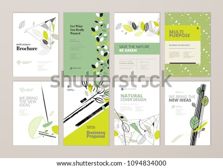 Set of brochure and annual report cover design templates on the subject of nature, environment and organic products. Vector illustrations for flyer layout, marketing material, magazines, presentations