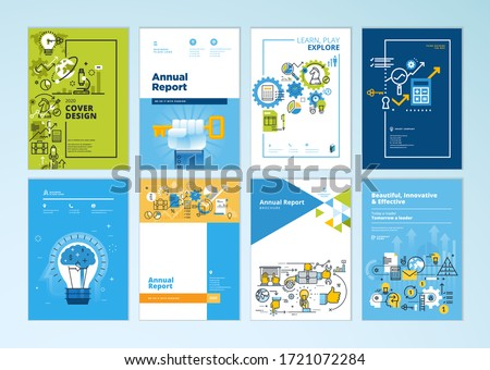 Set of brochure, annual report, business plan cover design templates. Vector illustrations for business presentation, business paper, corporate document, flyer and marketing material.