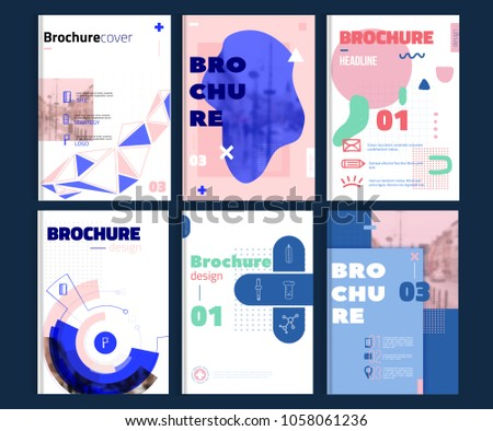 Set of brochure cover templates with minimal modern shapes. Business brochure cover design, flyer brochure cover, professional corporate brochure cover #1058061236