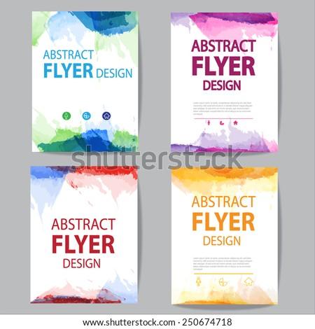 set of brochure flyer modern watercolor template