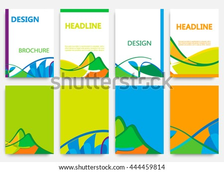set of brochures in colors of