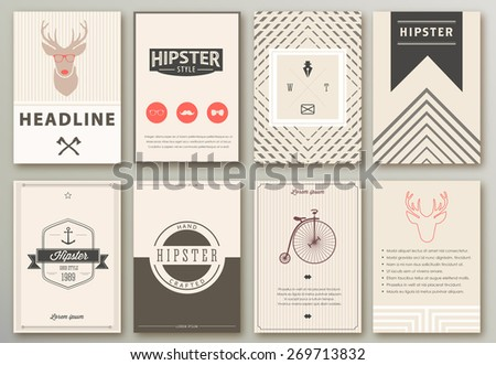 Set of brochures in hipster style.