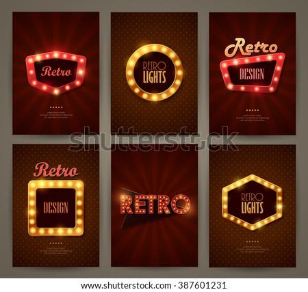 Set of brochures in retro style. Vector illustration. Retro light frames.