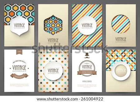 Set of brochures in vintage style. Vector design templates. Vintage frames and backgrounds.