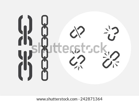 set of broken chain icons