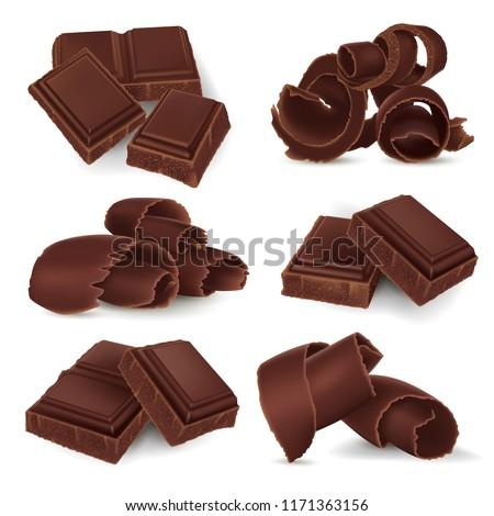 set of broken chocolate bars