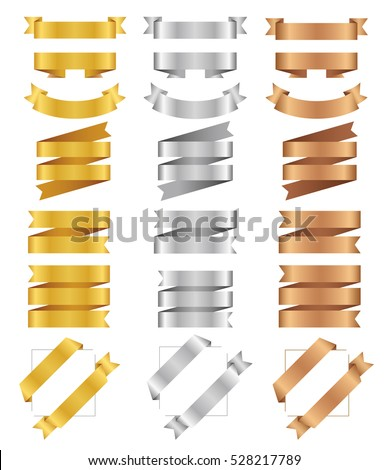 Set of bronze, golden, silver ribbons. Flat vector tape collection. Glossy ribbon banners isolated on white background. Bronzed tapes. Labels for greeting card, gift, poster, flyer, your design.