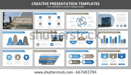 Set of brown and blue elements for multipurpose presentation template slides with graphs and charts. Leaflet, corporate report, marketing, advertising, annual report, book cover design.