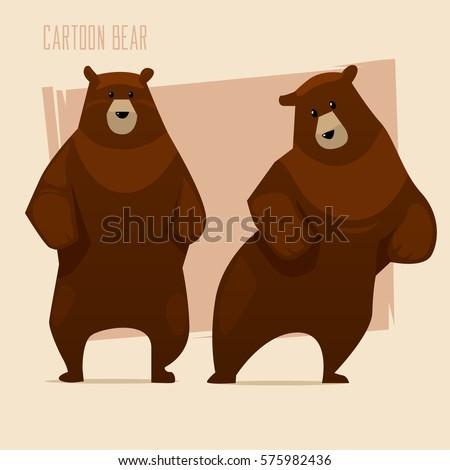set of brown bears cartoon