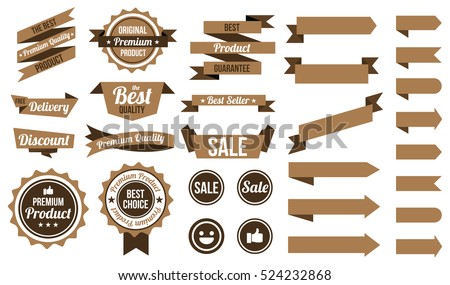 set of brown ribbons , badges and labels. flat design concept. branding and sale decoration. vector illustration. isolated on white background.