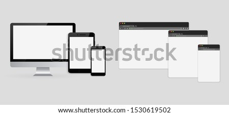 set of browser interface on