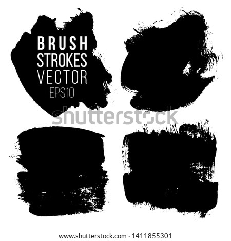 Set of brush strokes. Abstract black spots on white background square shape.