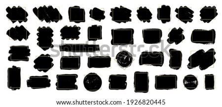 Set of brush strokes with gold frames. Modern brush, frames, banner. Grunge brush stroke element. Vector black paint illustration for your text.