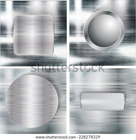 Set of Brushed Metal Texture with Reflections and Highlights Silver Background Aluminum Background Steel Background Vector Illustration
