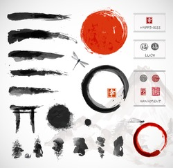 Set of brushes and other design elements, hand-drawn with ink in traditional Japanese style sumi-e. Red circle - symbol of Japan, enso zen circles, hieroglyphs, decorative stamps. Vector illustration.