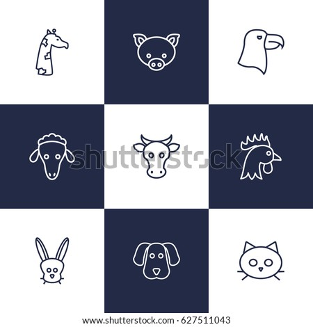 set of 9 brute outline icons