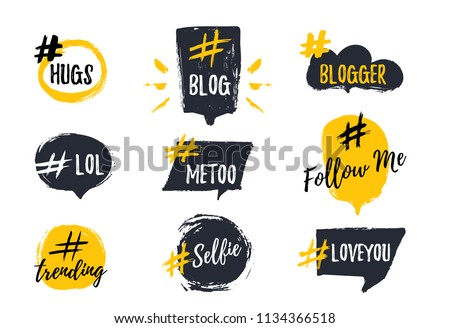 Set of bubbl banners with hashtags. trendy young slang words. Vector illustration