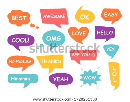 Set of bubble talk phrases Clouds for online chat with different words Suitable for dialogue to illustrate reactions. Chat baloons Colorful chat messages Vector Illustration on white background EPS 10