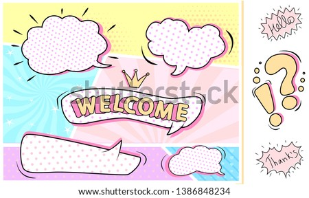 Set of bubbles speech on cute colorful pink, mint, yellow, purple background. Abstract comic pop art style blank. Clouds beams, little hearts, striped, polka halftone patterns. Hand drawn bang frames