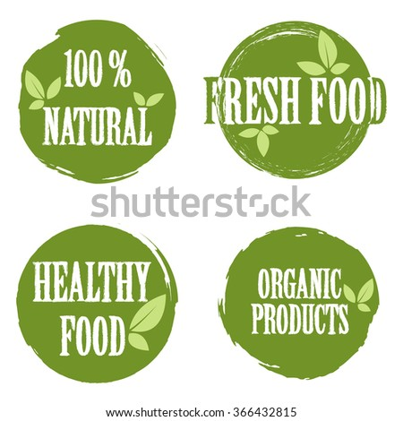 Set of bubbles, stickers, labels, tags with text. 100% natural product, 100% organic, healthy food. Organic food badges in vector (cosmetic, food). Fresh food.