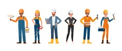 Set of Builder people working character vector design. Presentation in various action with emotions.