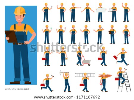 Set of Builder people working character vector design. Presentation in various action with emotions, running, standing and walking.